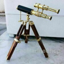 Antique Table Telescope Tripod Brass With Wooden Stand Collectible Nautical Gift