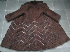 Made in CANADA Brown Astrakhan Curly Persian Lamb w/Real Leather Trim Coat VTG