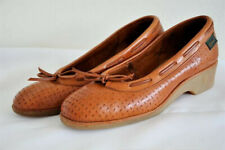 Vintage 70's Brown Leather Wedge Slip on Shoes sz. 8/8.5/9? with Bow