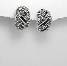 Marcasit and Resin Stone 925 Sterling Silver Stud Earrings High Quality