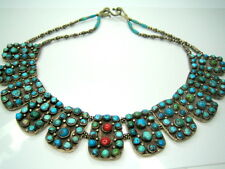 """ANTIQUE GENUINE TURQUOISE CORAL HEAVY STERLING SILVER VINTAGE NECKLACE 115g 16"""""""