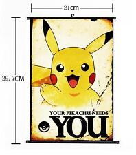 "Hot Japan Anime Pokemon Go Monster Pikachu Wall Scroll Home Decor 8""×12"" 01"