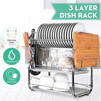3 Layer Chrome Alloy Dish Drainer Cutlery Holder Rack Drip Kitchen Storage Tool