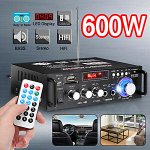 600W Car Home Amplifier bluetooth HIFI Power Audio Stereo Amp USB FM SD 110V/12V