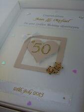 Personalizzata D'oro 50esimo nozze anniversario CARD, cristalli SWAROVSKI, inscatolato