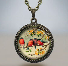 Robin Redbreasts necklace, Feathered Friends necklace, bird Pendant  jewelry