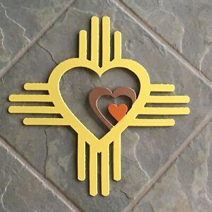 Zia Triple Heart Metal Wall Art Indoor/Outdoor Handmade Yellow Copper Orange