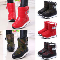Kid Boys Girls Ankle Winter Warm Fur Lined Snow Boots Slip On Flat Booties Shoes