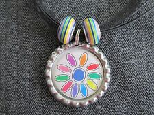 Girl Scouts Bottle Cap Bling Charm Black Ribbon Necklace Bead Daisy Ring Patches