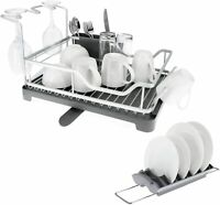 Over Sink Dish Drying Rack Drainer Kitchen Removable Compact Cutlery Holder Set