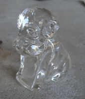 """Vintage Heavy Glass Puppy Dog Candy Container 3"""" Tall"""