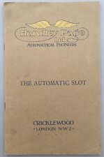 HANDLEY PAGE THE AUTOMATIC SLOT MANUFACTURERS SALES BROCHURE 1920'S HARE HINAID