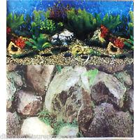 "19"" Double Sided Aquarium Background Backdrop Fish Tank Reptile Marine"