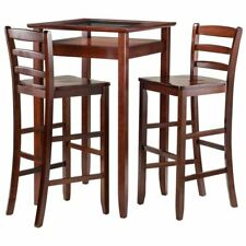 Winsome Wood Halo 3pc Pub Table Set With 2 Stools Ladder Back
