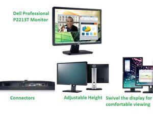 """Dell Professional P2213T 22"""" HD Monitor Anti Glare Wide Angle Display"""