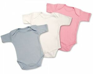Plain Short Sleeved Cotton Baby Body Vest  2-Pack - White, Pink, or Blue