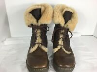 Born Filo Leather and Genuine Shearling Foldover Boots Womens 8 US