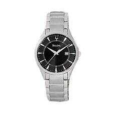 NEW Bulova Men's 96B184 Dress Black Dial Date Stainless Steel Quartz Watch