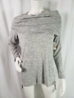 1 State Sweater Cowl Neck Long Sleeve Pullover Stretch Gray White Size Small