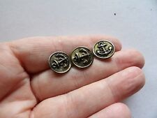 """SET 3 TINY  BRASS ANCHOR NAVAL / MILITARY STYLE BUTTONS 1/2 """" 12MM Z39"""