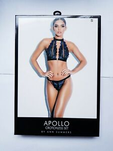Ann Summers Apollo Crotchless Lingerie Set Blue/Black S 8-10 New Erotic Sexy