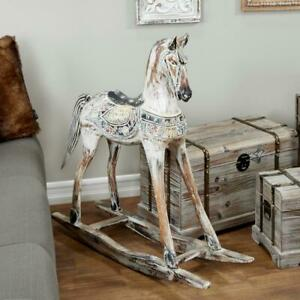 Hand Carved Vintage Wooden Rocking Horse Sculpture Decorative Detailed Statue