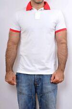BIKKEMBERGS Dirk equipo de natación Camisa Polo Algodón Top Blanco Rojo Vintage 90s M Buena