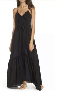 Elan Tie Front Maxi Cover-Up Dress Black Size M Retail $80