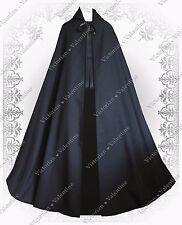 Gothic Steampunk Black Cloak Men Women Renaissance Historical Hooded Cape