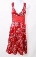Ted Baker 100% Silk ladies a line Dress Wedding Red Mix occasion party Sz 1 UK 8