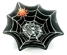 Pottery Barn Halloween Small Candy Dish Bowl Spider Web