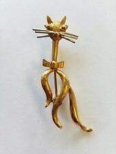 Estate Vintage 18K Yellow Gold Cat Pin Brooch 4.5 grams