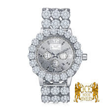 Real Genuine Diamond Stainless Steel White G/P Custom Men Ice House Watch W/Date