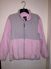 The North Face Girls Size Xl Full Zip Gray & Pink Fleece Denali Jacket