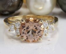 1.70 Carat Natural Peach MORGANITE and DIAMOND 14K Solid Yellow Gold Women Ring
