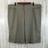 Lane Bryant Womens Shorts 26 Brown Plaid Buttoned Cuff Career Dressy