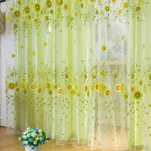 1 X Room Sunflower Pattern Voile Window Curtains Sheer Panel Drape Curtain H WH