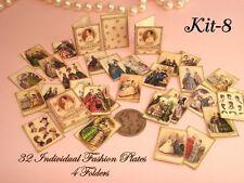 Miniature 1:12 Scale pretty Victorian era Fashion Plates/Illustrations- Kit -8
