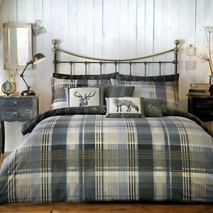 Dreams & Drapes Connolly Check 100% Brushed Cotton Duvet Cover Bed Set Charcoal