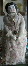 "Antique Victorian Doll Porcelain Head & Hands 10"" Tall"