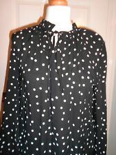 NEXT BLACK AND WHITE SPOTTY BLOUSE TOP SIZE 12 WITH TAGS: