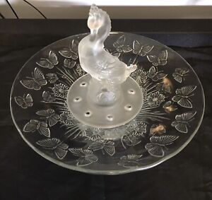 Butterfly Float Bowl , Rare Swan Statue , Art Deco , Depression Glass