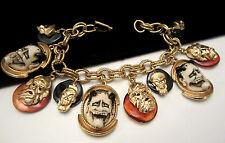 """Rare Vtg 7-1/2""""x1-1/2"""" Signed Florenza Goldtone Noh Devil Charm Bracelet A10"""