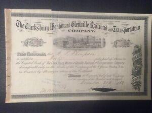 The Clarksburg,Weston &  Glenville Railroad & Transportation Company (WVA.) 1882