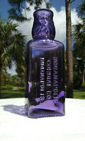 TUMBLED - 1890'S LARGE ANTIQUE AMETHYST INDIANOPLIS CORDIAL CO. BOTTLE!  ORNATE!