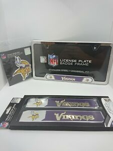 NFL Minnesota Vikings Official 3pc Truck Emblem Kit - License Plate Accent Kit