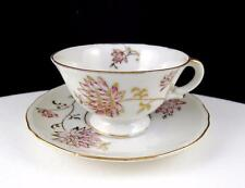 "OCCUPIED JAPAN GOLD AND PINK FLORAL 1 3/4"" DEMITASSE CUP AND SAUCER 1945-1952"