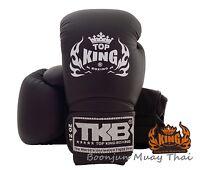 NWT TOP KING Boxing gloves Solid Black TKBGSV Muay Thai MMA K1 Gloves 12 14 16