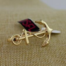 Cool and unusual gold tone anchor double finger ring