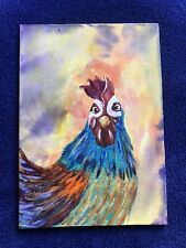 """ Louise""Chicken Bird Acrylic With Alcohol Ink Background Original"